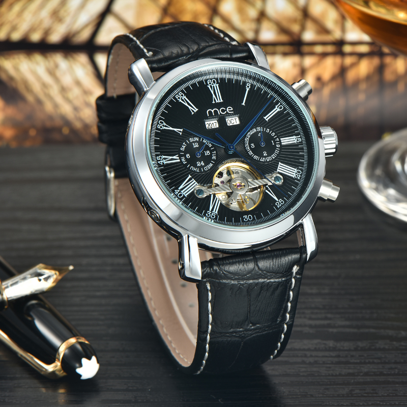 Causal leather strap automatic watch mens fashion