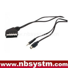 Scart male to SVHS + 3.5mm stereo plug cable
