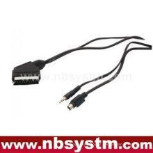Scart macho para SVHS + 3,5 mm cabo de conexão estéreo
