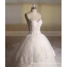 Princesse Belle Sequin Fleurs Tiered Long Train Robe de mariée Robe de bal Zhongshan