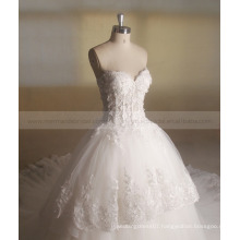 Princess Beautiful Sequin Flowers Tiered Long Train Wedding Dress Ball Gown Zhongshan