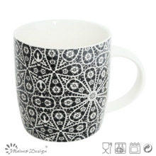 12oz Ceramic Mug with Black Flower Decal Design