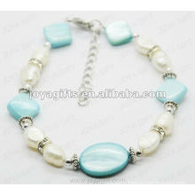 Fashion Blue Pearl Shell Beaded Anklet