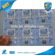 2015 high anti fake technology with Miniature text authenticity QRcode hologram sticker