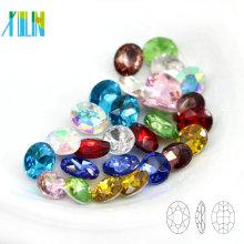 A venda em massa malogrou a pedra extravagante oval de cristal solta da parte traseira para o botão C4127 do vestuário