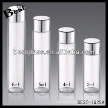 Bouteille de bouchon à vis en aluminium de 3/4/5 / 6ml; bouchon à vis en aluminium bouteille transparente