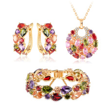Ensemble de bijoux nuptiaux en cuir Zircon Multicolor 18k en or (CST0029-C)