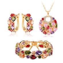 18k ouro multicolor zircão conjunto de jóias nupcial mulheres (cst0029-c)