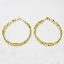 Fashion shining gold plating metal hoop earrings in round shape, 50mm in outer diameter,woman hot selling jewelry gift for girls