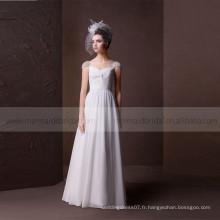 Charmant A-ligne Criss Cross Pleat Sweet Heart Beads Robe de mariée en mousseline mousseline de soie Gathered Jupe