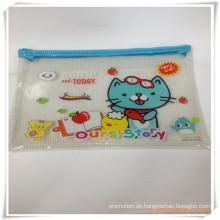 Katzen-Karikatur-Ineinander greifen und PVC-Reißverschluss-Bleistift-Tasche / Fall für Förderung