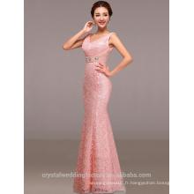 Alibaba Elegant Long Nouveau Designer cap Sleeve rose Robe de soirée en satin de couleur ou robe de demoiselle d'honneur avec perles LE36