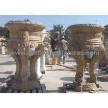 Garden Flower Pot with Stone Marble Limestone Granite Sandstone (QFP326)