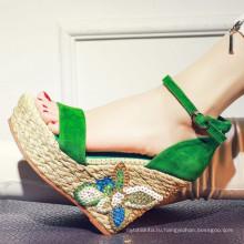 большой размер Клин обувь для женщин обувь сандалии