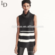 Hot sale slim sleeveless knitted jumper turtleneck pullover women sweater