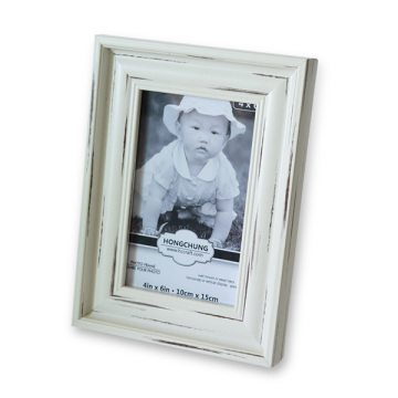 White Wash Finished PS Photo Frame for Home Decoration