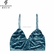 Peacock blue xxx sexy simple new design image of ladies velvet fabric long lined wireless bralette crop top bra