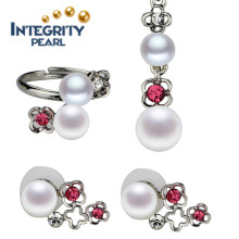 Freshwater Pearl Set 8mm AAA Button Best Pearl Set