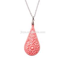 Colar de pingente de flor de pedra rosa boêmio vintage para mulher