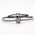 New Fashion Micro Pave Cubic Zirconia Charm Women's Bracelets Popular Imperial Crown Braiding Macrame Silver Bracelets Jewelry.