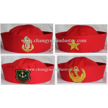 Promotional red cotton seaman sailor cap hat