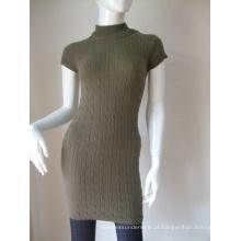 Manga curta algodão sem costura vestidos longos feminino