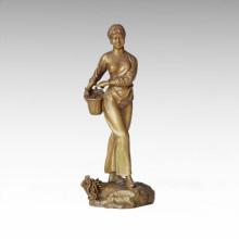 Estatua Oriental De Recolección Tradicional De Té Chica Escultura De Bronce Tple-015