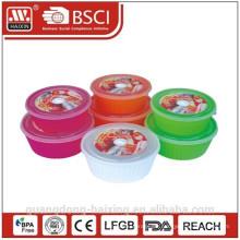 Envase de alimento del microondas redondo (2pcs)1.65L/2.55L