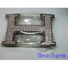 Belt Buckle-H Shape Sterling Silver with CZ Pave