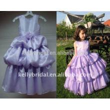 Luz púrpura niños vestidos de noche con flor hecha a mano y pliegues 1030