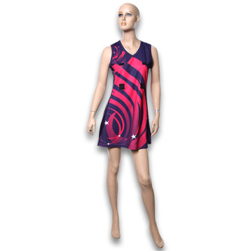 100% poliester sublimasi dicetak Netball Dress