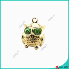 Breloque en métal Zinc Alloy Metal Fashion Owl 3D