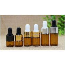 Garrafa de conta-gotas de óleo refinado, garrafa de embalagem de vidro, garrafa de tubo desenhada