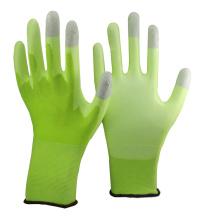 NMSAFETY 13 galgas tejidas hi-viz forro de nylon verde con revestimiento blanco pu en la palma y carbono gris en los tres dedos superiores guantes ESD