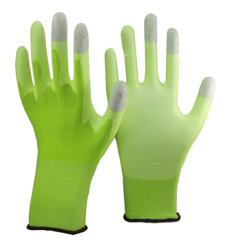 NMSAFETY 13 bitola de malha hi-viz verde forro de nylon revestido branco pu na palma da mão e cinza de carbono na parte superior três dedos luvas ESD