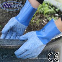 NMSAFETY Heavy Jersey revestido de borracha de látex azul resistente à água luva de trabalho de mão