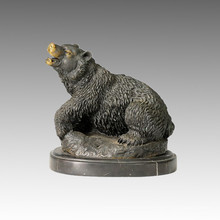 Animal Brass Statue Bear Carving Branze Sculpture Tpal-067