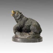 Статуэтка медведя животного медведя Резьба скульптуры Branze Tpal-067