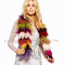 Cheap Wholesale Rainbow Mongolian Lamb Fur Scarf