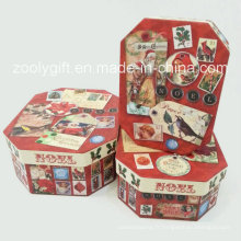 Boîtes de rangement pour cadeaux en carton en papier de Noël octogonal irrégulier
