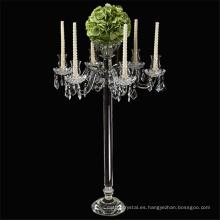 hermosa pieza central de la boda de cristal 5 brazos candelabro