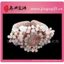 Modeschmuck Handmade Pink häkeln Perlen Edelstein Mädchen Armreifen