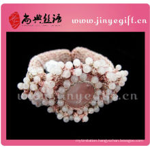 Fashion Jewellery Handmade Pink Crochet Beaded Gemstone Girl Bangles