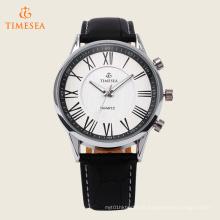 Relógio de quartzo inoxidável de couro preto de prata luxuoso 72255 da forma dos homens
