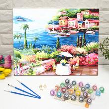 DIY Framed Paint by Numbers Mediterranean Sea Beach Resort