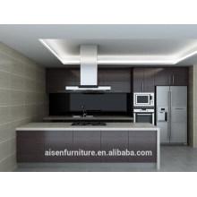 Gabinete de cozinha de folheado de madeira natural moderno