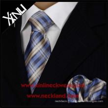 Cravate tissée en soie et poche pour hommes