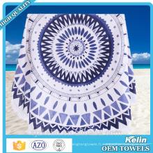 Très grande serviette de plage ronde imprimée par coutume avec des glands