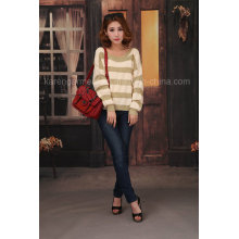 Ladies Oversized Soft Striped Wide Neck Sweater
