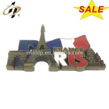 Espermas de los imanes del recuerdo de la torre Eiffel del esmalte del metal de la aleación del cinc de la aduana 3D